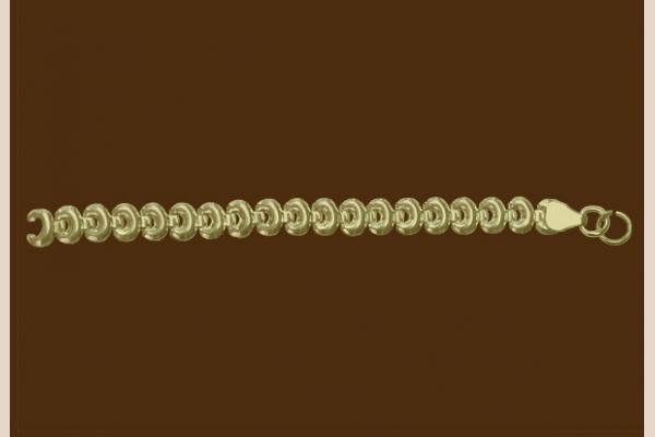 Цепь из золота: плетение Бублик просечное
