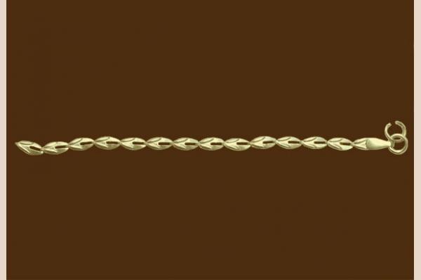 Цепь из золота: плетение Кофейное зерно просечное
